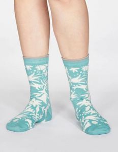 Thought Bamboo Women's Socks - Otomi Floral Field Green