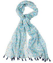 Load image into Gallery viewer, Namaste Floral Print Cotton Scarf with Tassels