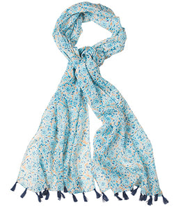 Namaste Floral Print Cotton Scarf with Tassels