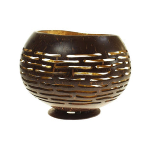 Shared Earth Cut Out Coconut Shell Bowl with Gold Coloured Lacquer Inner