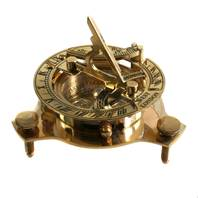 Shared Earth Sundial and Compass in Brass