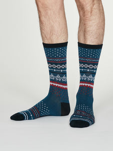 Thought Bamboo Men's Socks - Reginald Denim Blue