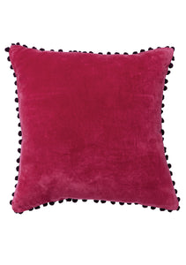 Namaste Cotton Velvet Cushion Cover with Pom Poms, 45x45 cm