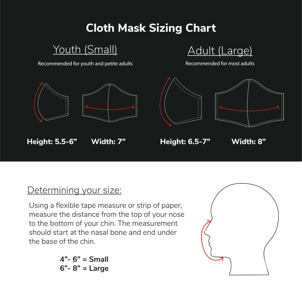 A sizing chart to help users choose the right size cloth mask. 2 sizes available: youth small and adult large (recommended for most adults).