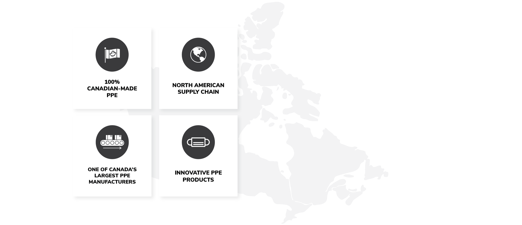 Image of The Canadian Shield key benefits: 100% Canadian-made PPE, North American Supply Chain, One of Canada's largest PPE manufacturers, Innovative PPE products.