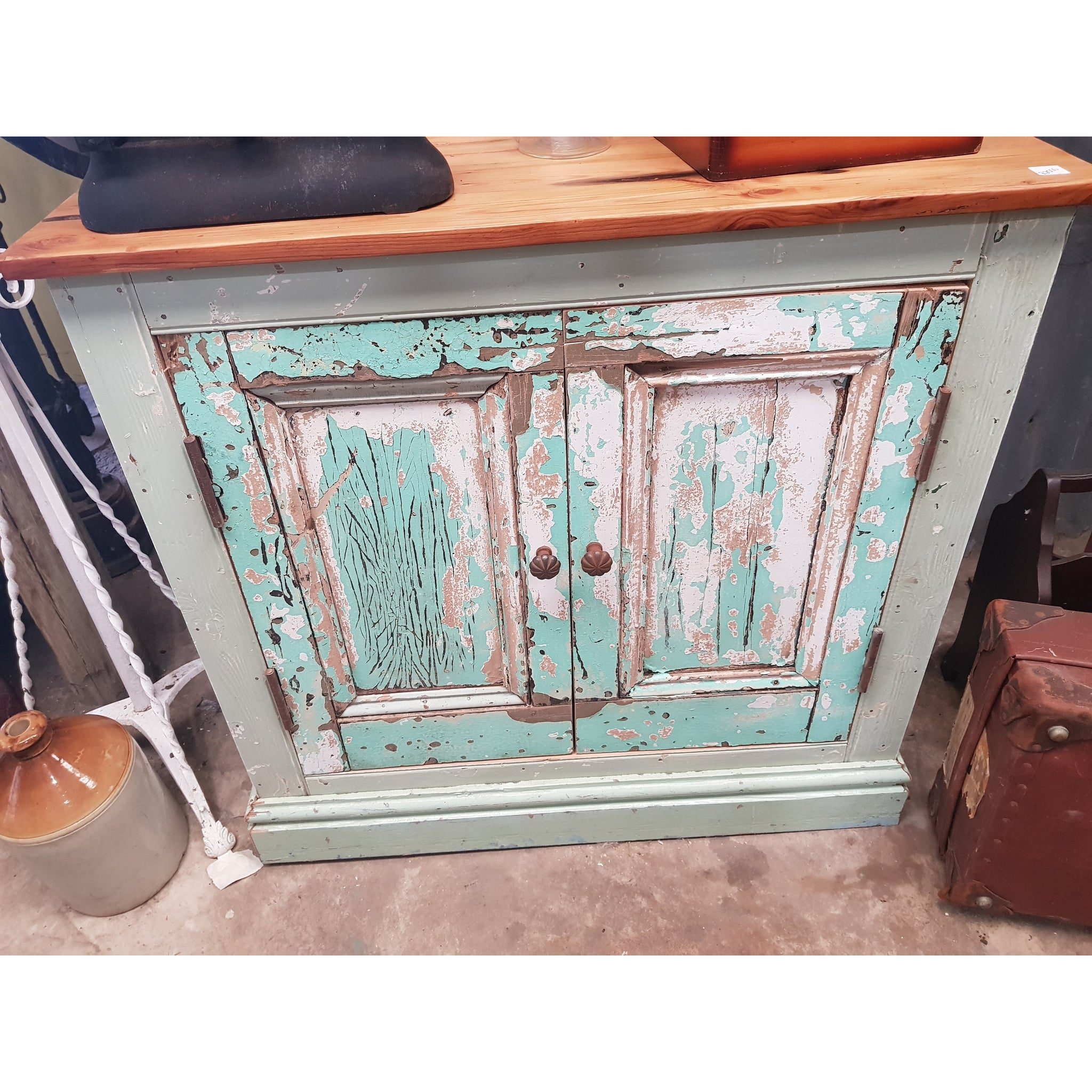 *special* Distressed Turquoise base cupboard