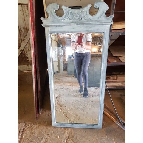 Painted & Distressed Mirror with carving