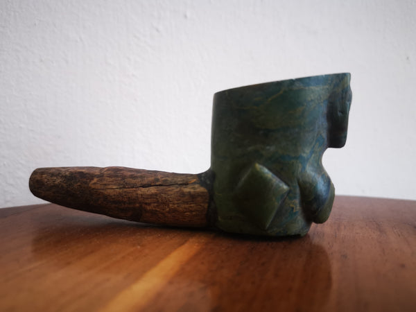 soapstone and wooden pipe