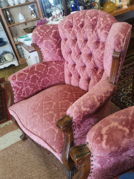 pink chairs - pair wingbacks
