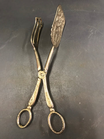 Silver plated cake lifter/ tongs