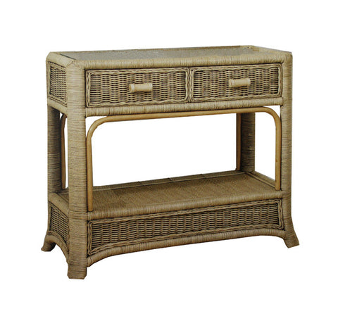 Console Table with 2 Drawers and Glass Top