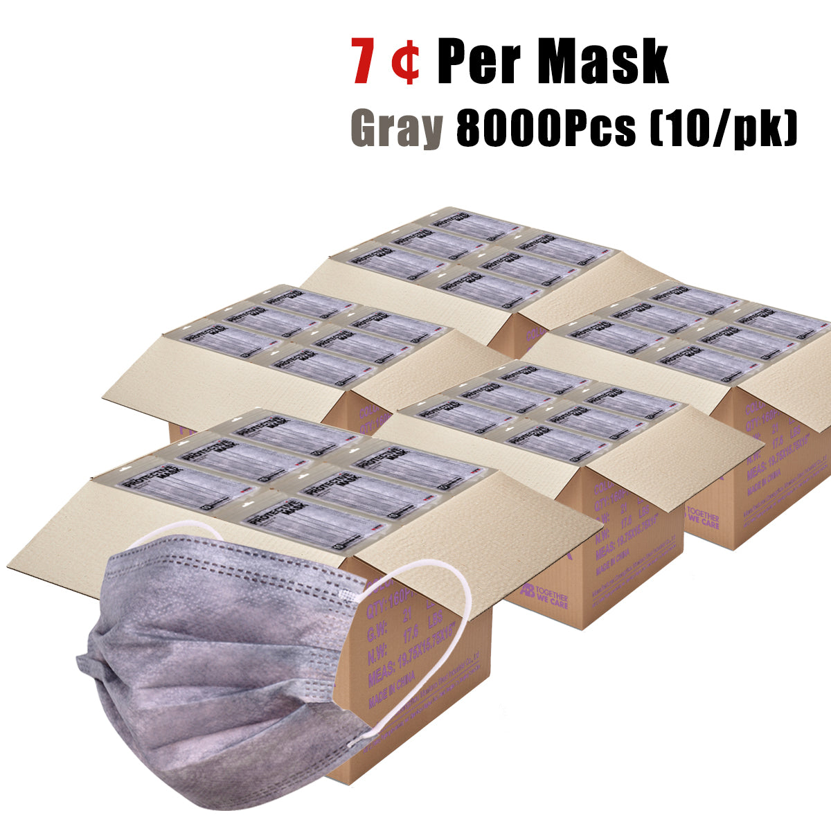8000PCS Grey Disposable Face Masks 3 Layers  Protective Cover Masks