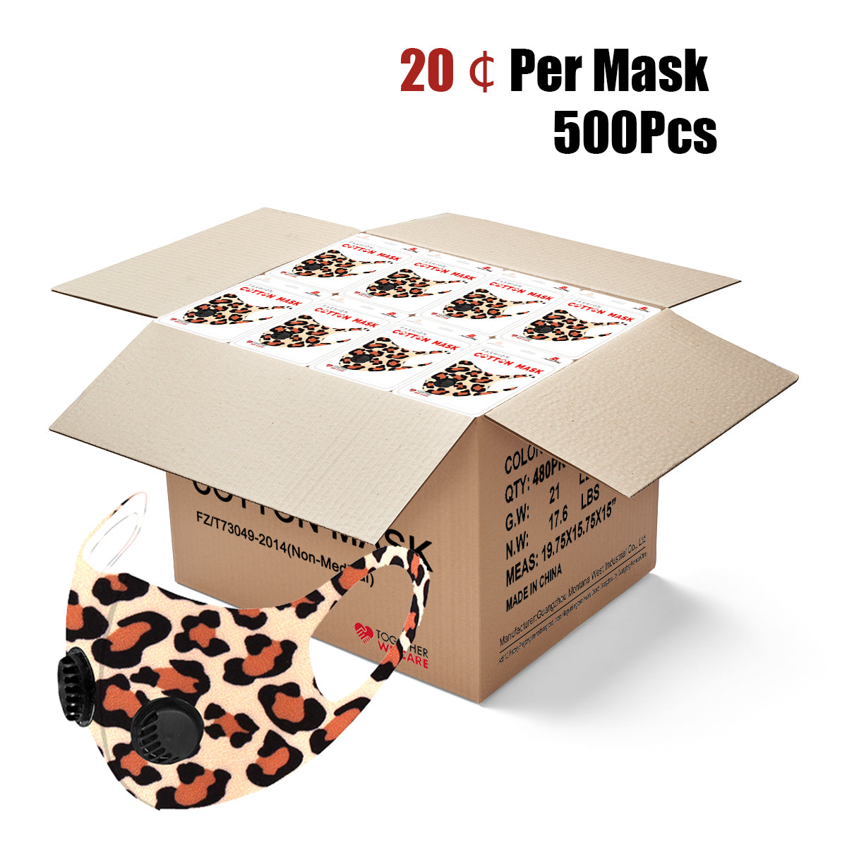 500Pcs Leopard Print Double Breathing Valve Single Ply Face Mask