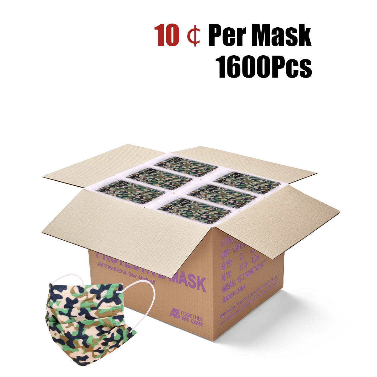 1600Pcs American Bling 10Pcs /Pack Green Camo Print 3Ply Disposable Face Masks
