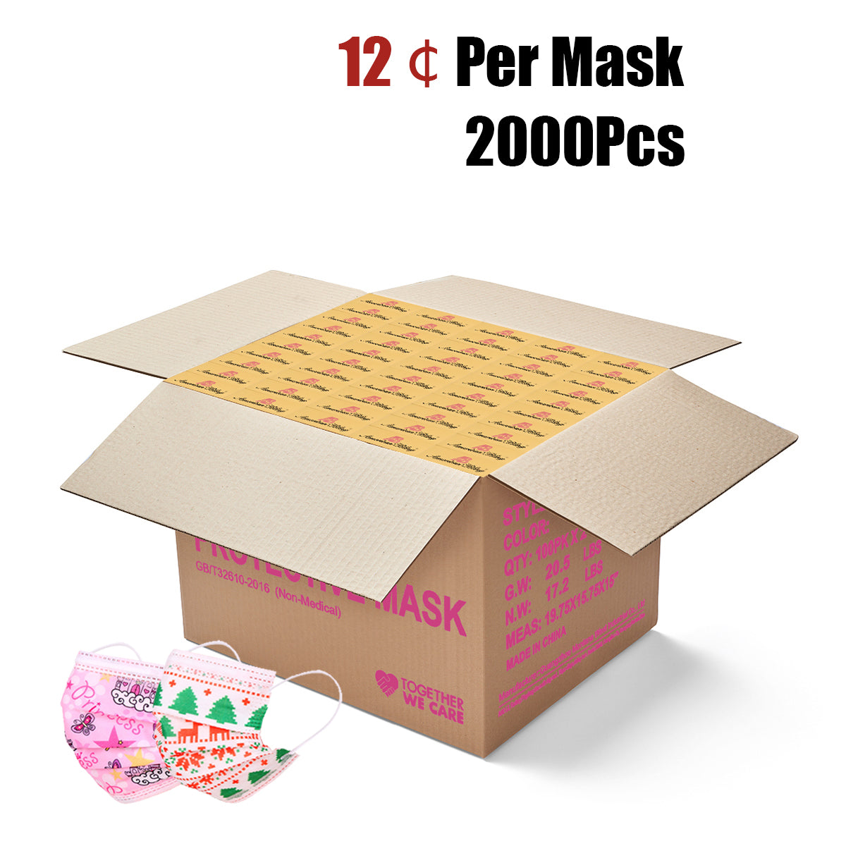 2000Pcs  American Bling Kids 3 Ply Disposable Assorted Xmas & Princess Print Face Mask (20Pcs/Box)