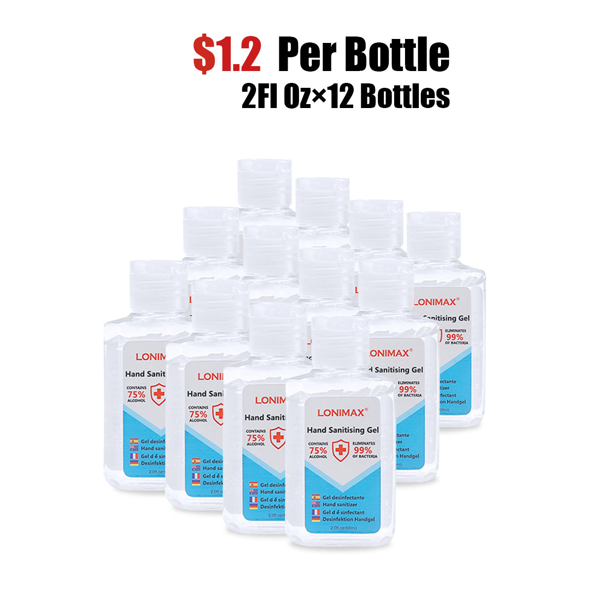 2Fl.Oz, Bottle of 12 Gel Hand Sanitizer with Aloe Vera  Disinfectant Alcohol Liquid 75%