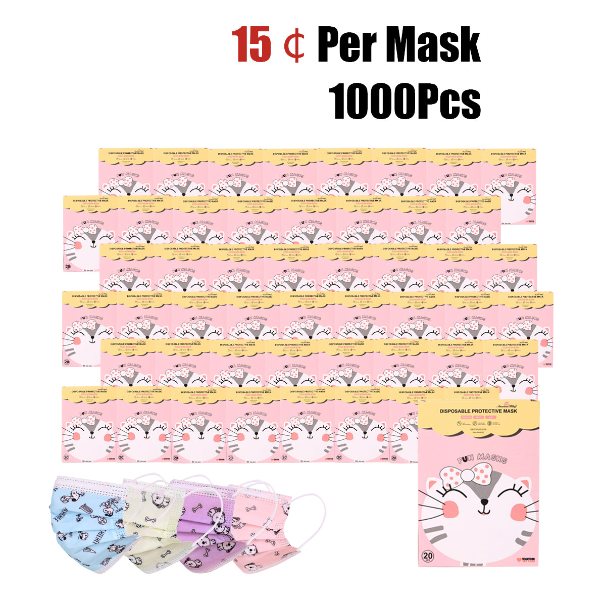 1000Pcs American Bling Kids 3 Ply Disposable Assorted Color Dog & Bone Print Face Mask  (20Pcs/Box)