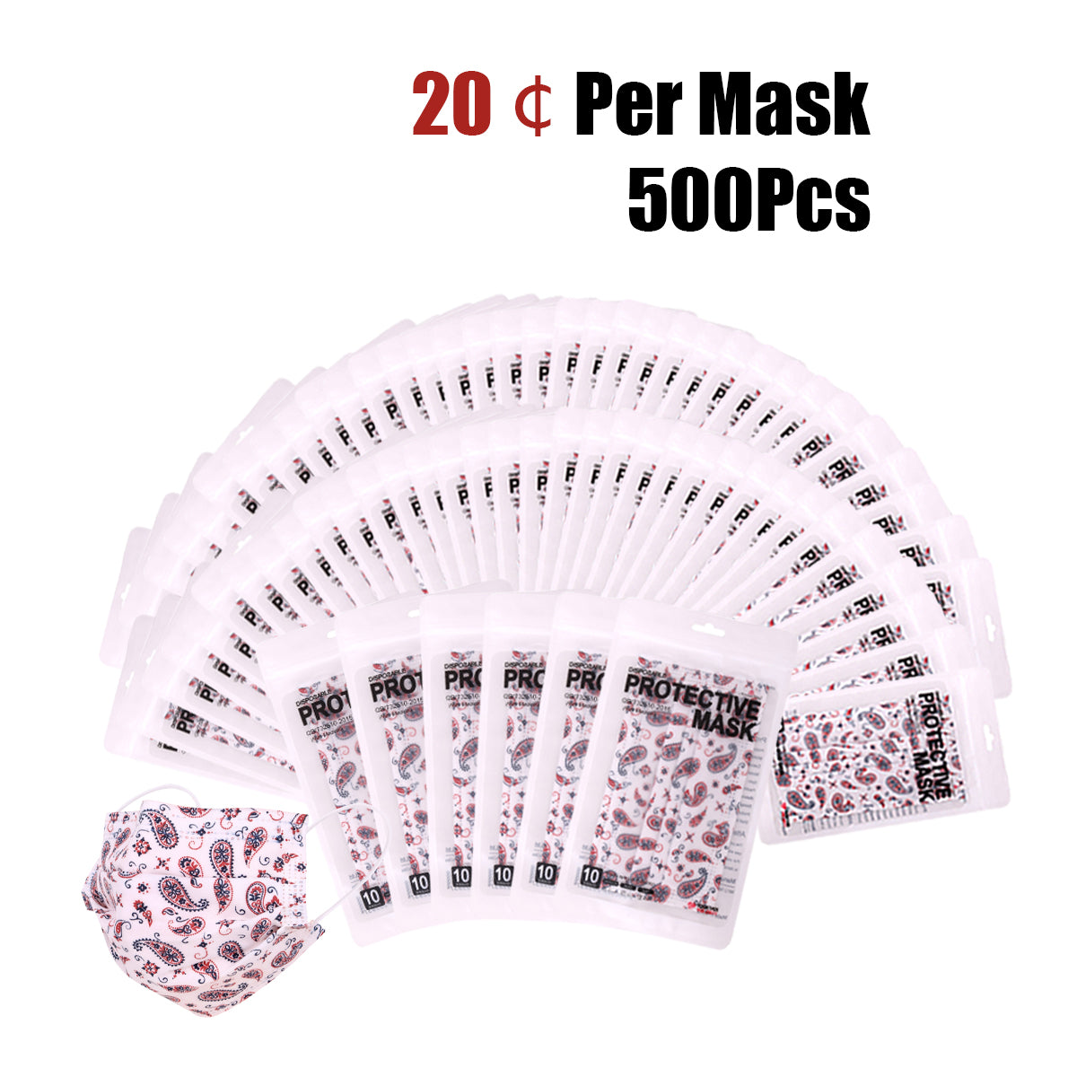 500Pcs American Bling 10Pcs /Pack White Paisley Print 3Ply Disposable Face Masks