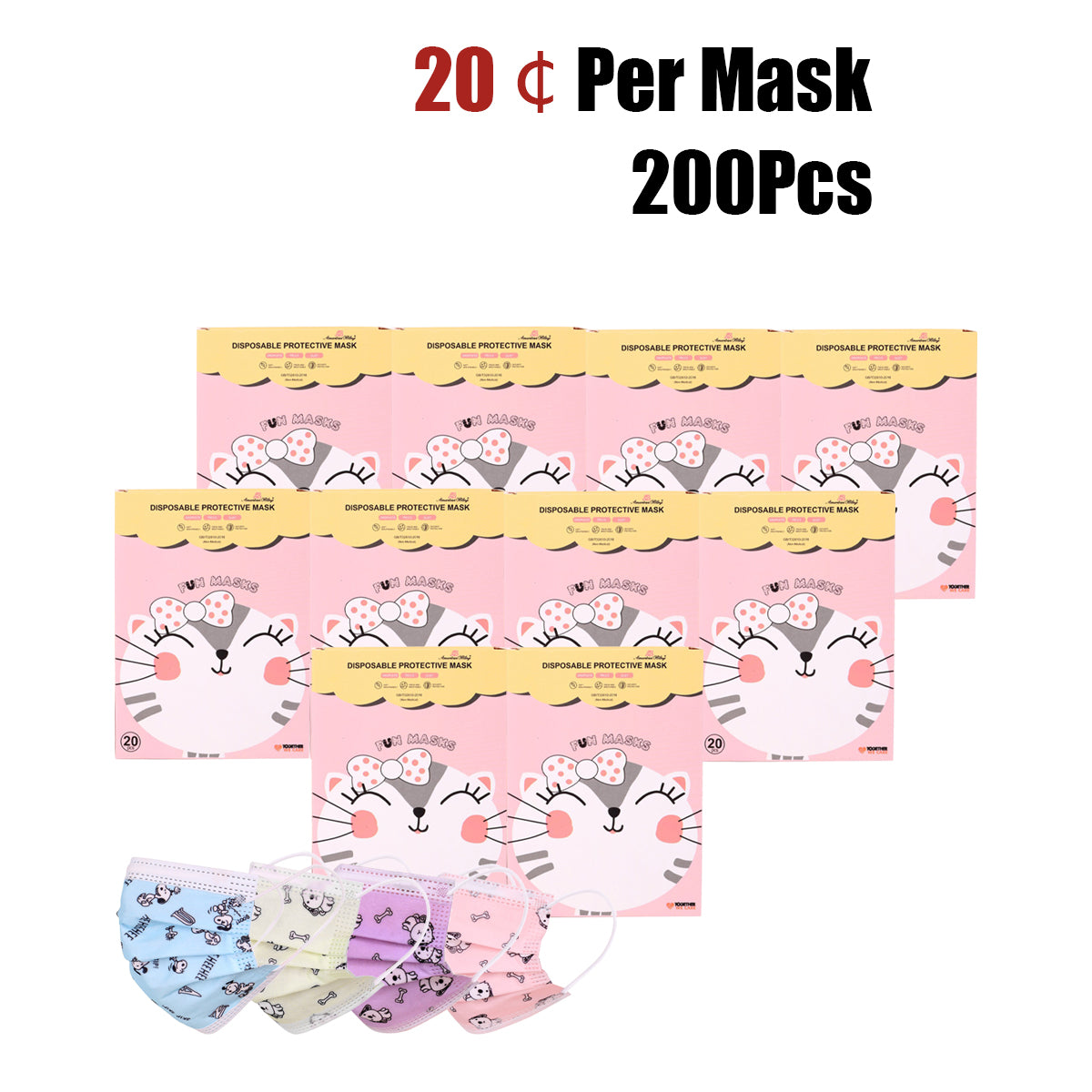 200Pcs American Bling Kids 3 Ply Disposable Assorted Color Dog & Bone Print Face Mask  (20Pcs/Box)