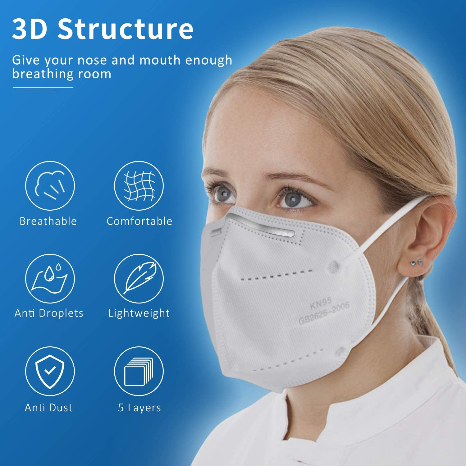 200PCS American Bling KN95 5-Ply Disposable Folding Protective Cover Masks