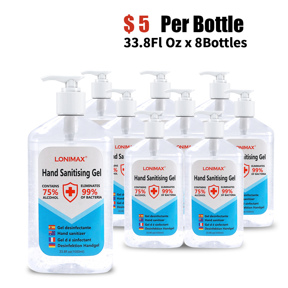33.8 Fl Oz, Bottle of 8  Gel Hand Sanitizer with Aloe Vera Disinfectant Alcohol Liquid 75%