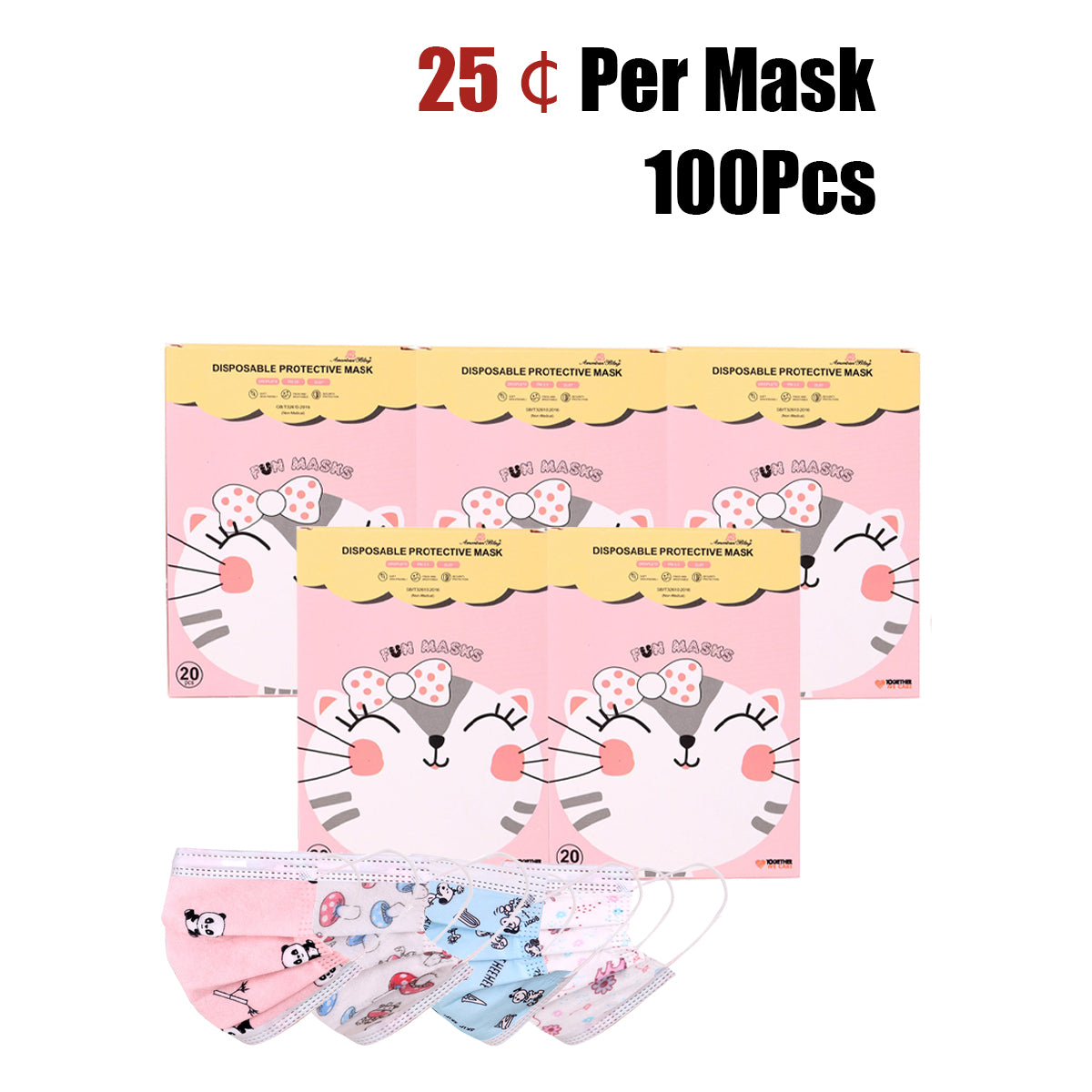 100Pcs American Bling Kids 3 Ply Disposable Assorted Cartoon Print Face Mask  (20Pcs/Box)
