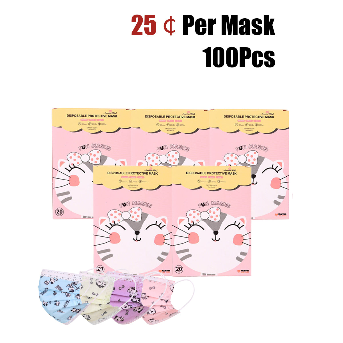100Pcs American Bling Kids 3 Ply Disposable Assorted Color Dog & Bone Print Face Mask  (20Pcs/Box)