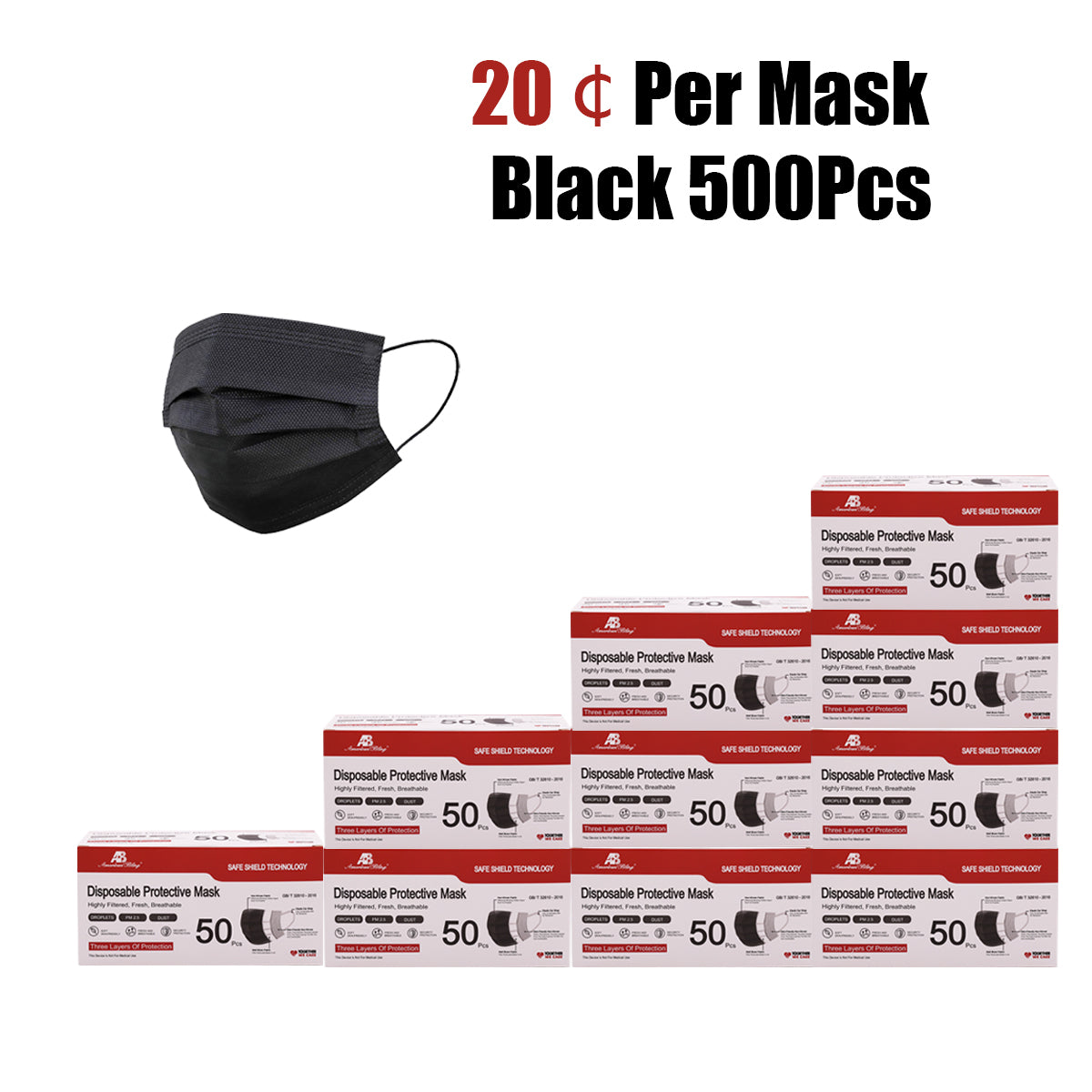 500 Pcs Black Disposable Face Masks for Protection, 3 Ply Face Mask Breathable and Comfortable