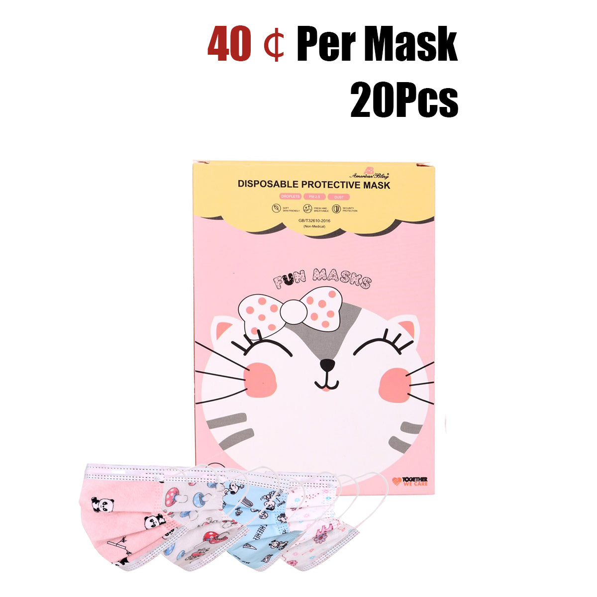 20Pcs American Bling Kids 3 Ply Disposable Assorted Cartoon Print Face Mask  (20Pcs/Box)