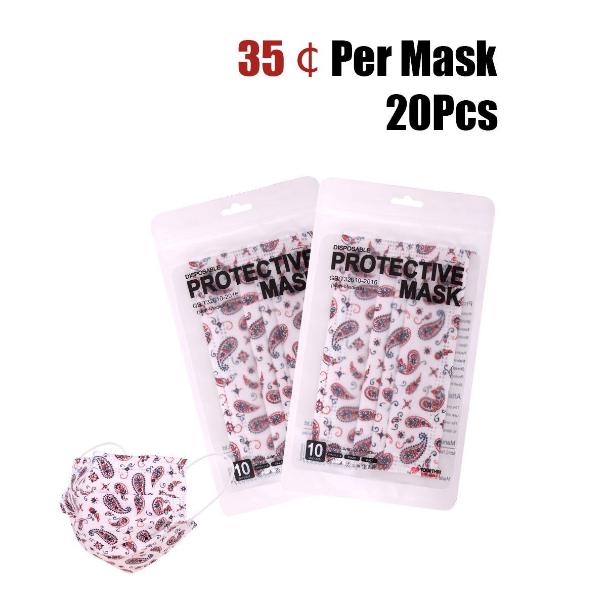 20Pcs American Bling 10Pcs /Pack White Paisley Print 3Ply Disposable Face Masks