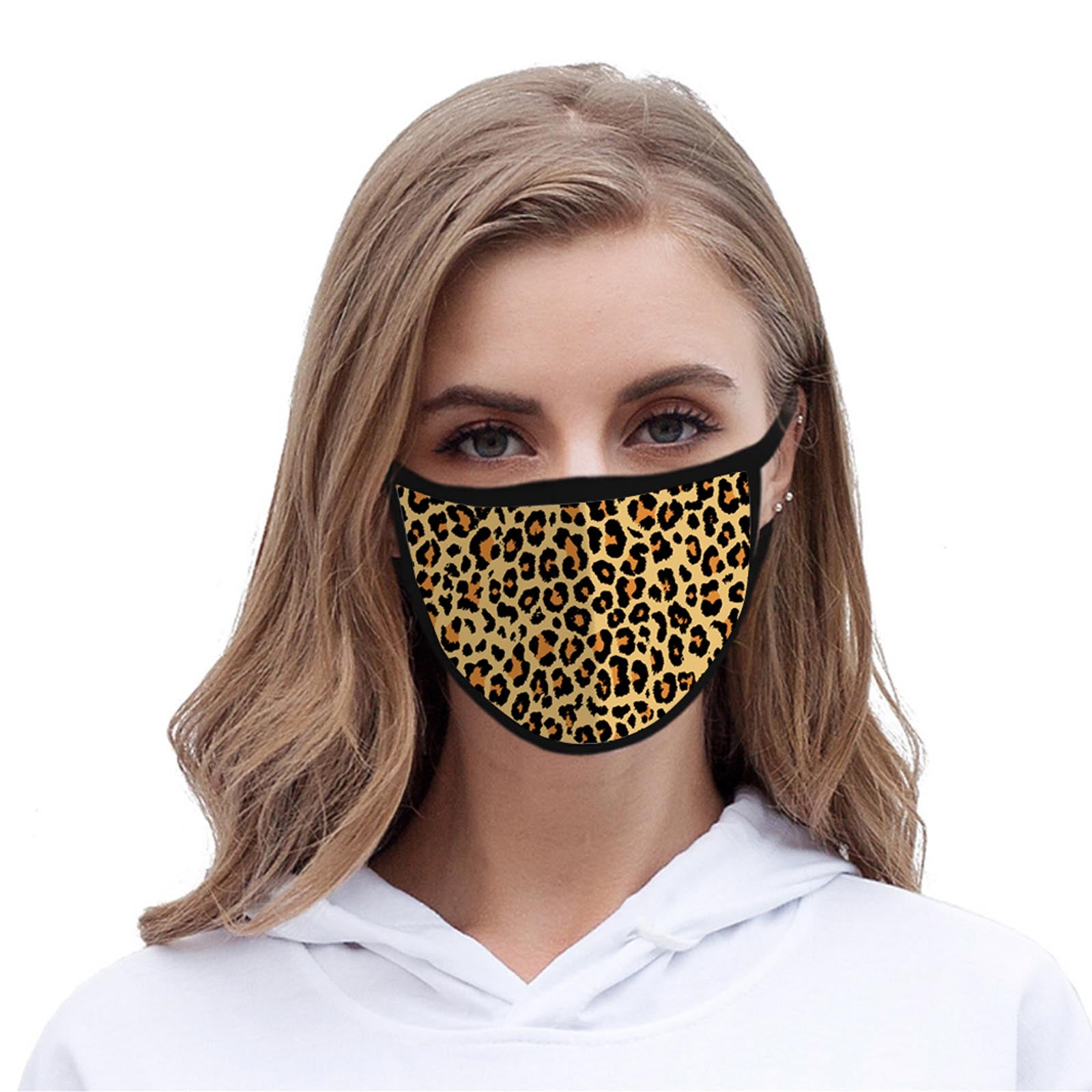 FCM-002 Leopard Print Fabric Face Mask Double Layer Set of 2