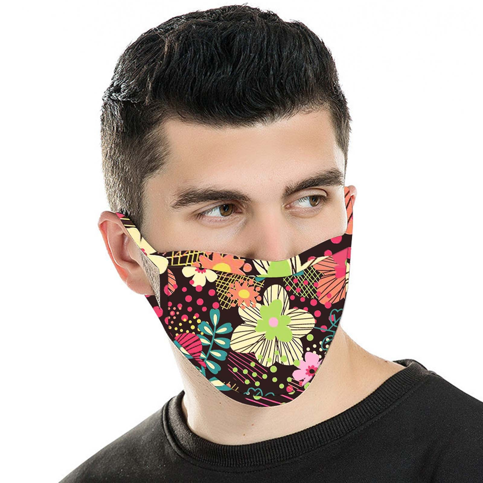 FCM-043 American Bling  Multi Color Floral Print Cloth face Mask 1Pcs Pack