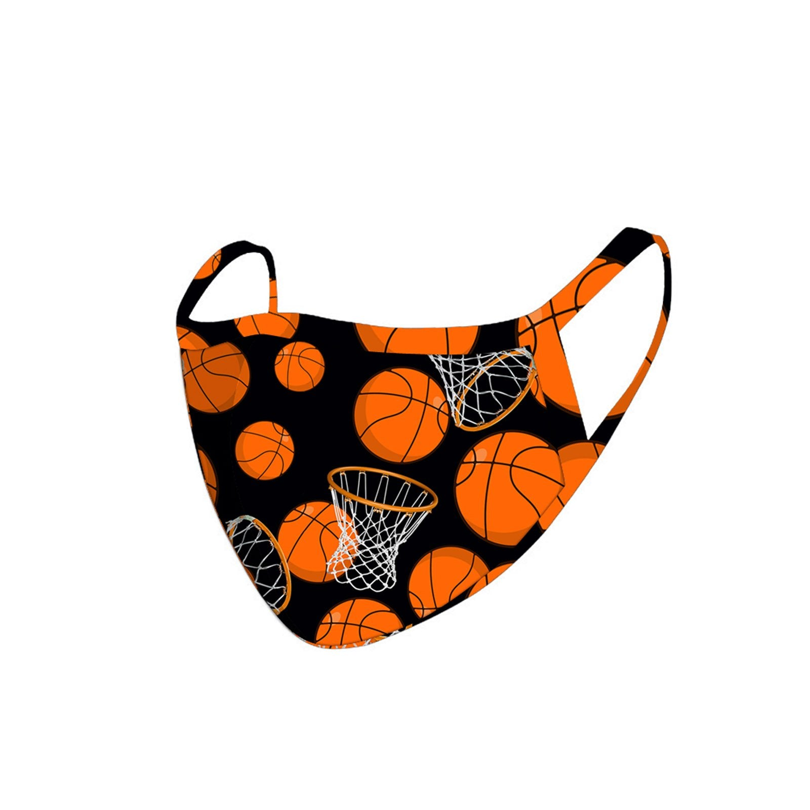 FCM-049 American Bling  Basket Ball and Hoops Print Cloth Face Mask -1Pcs