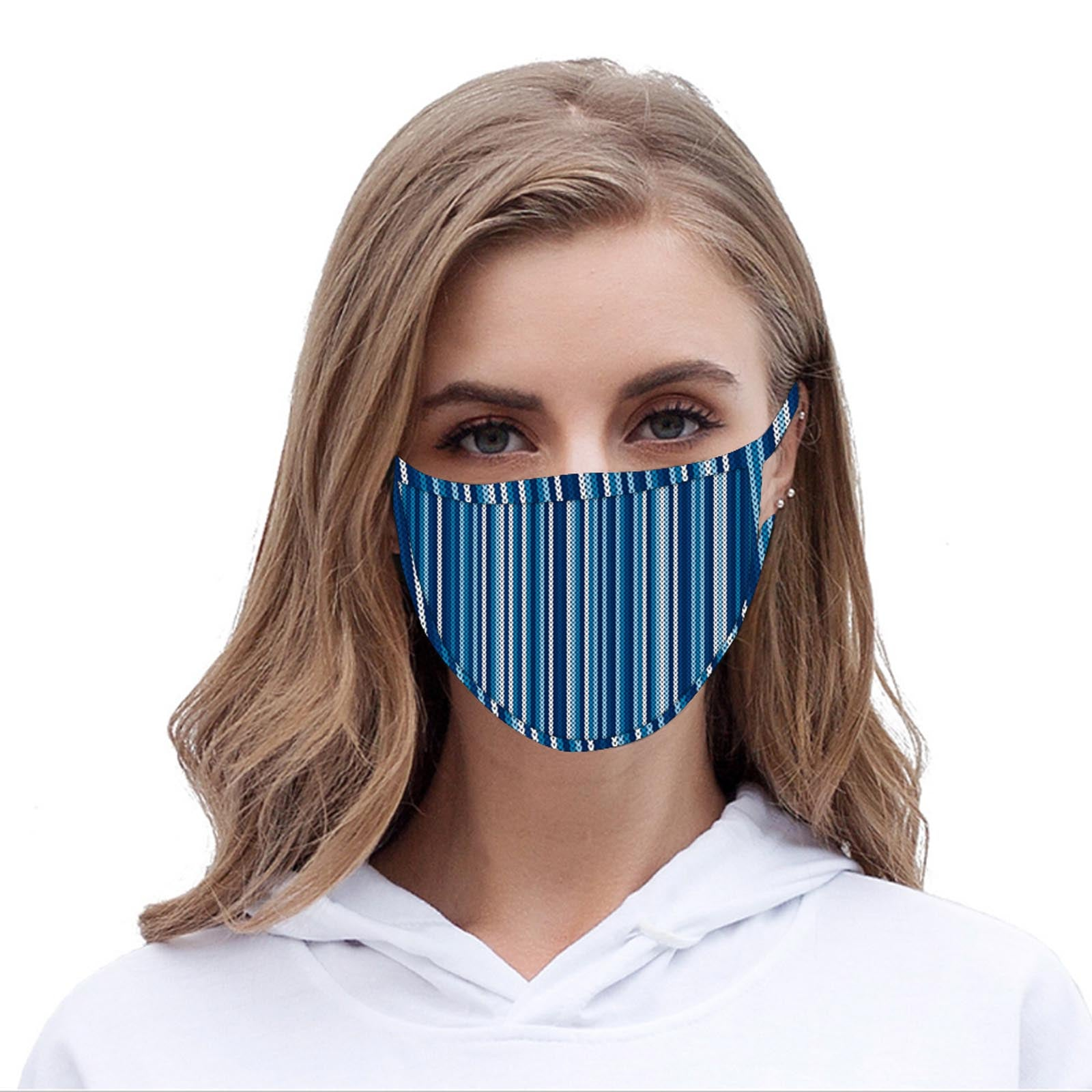 FCM-062  American Bling Blue Stripe Print Cloth Face Mask 1Pcs