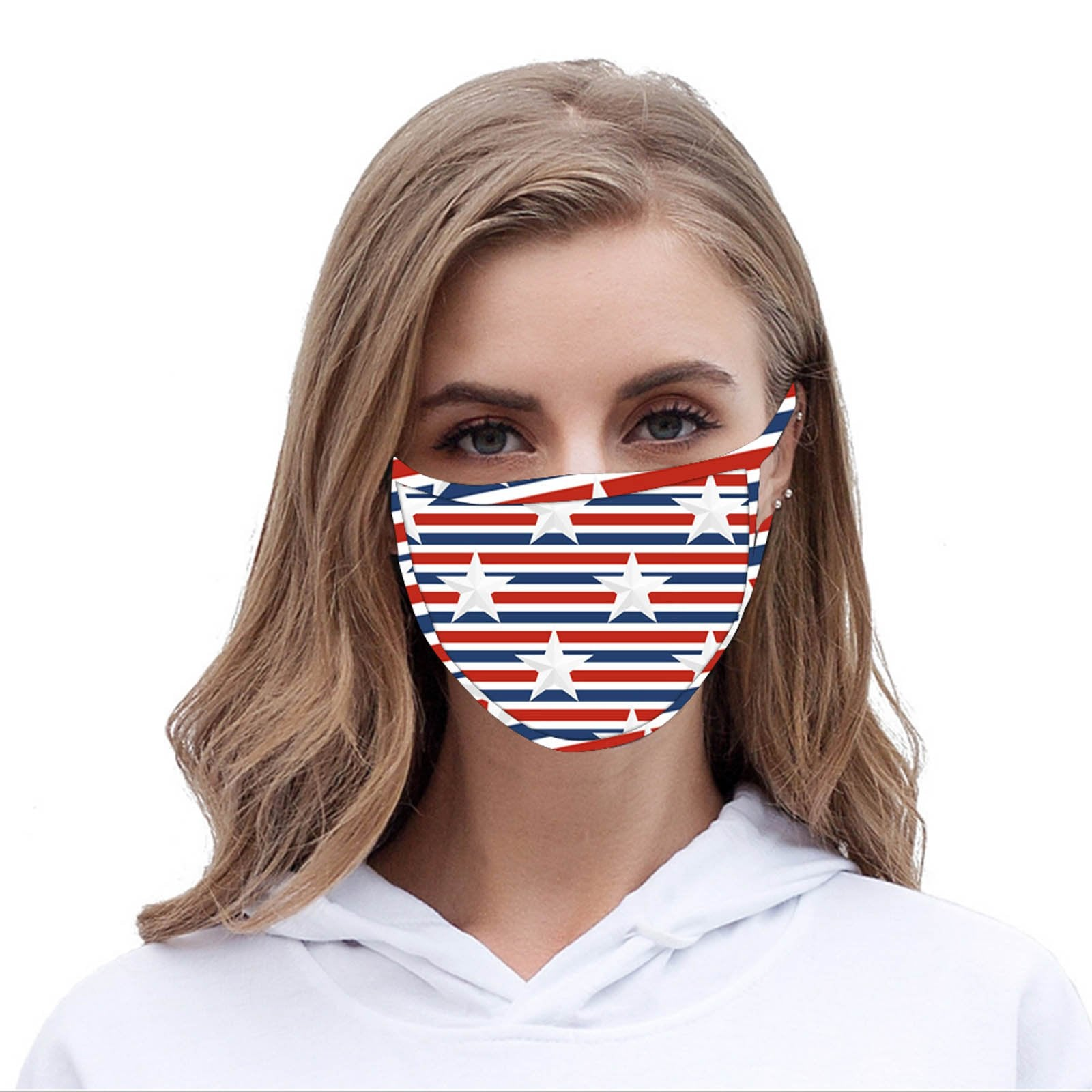 FCM-066 American Bling Stars & Stripes Print Fabric Face Mask Double Layer -1Pcs
