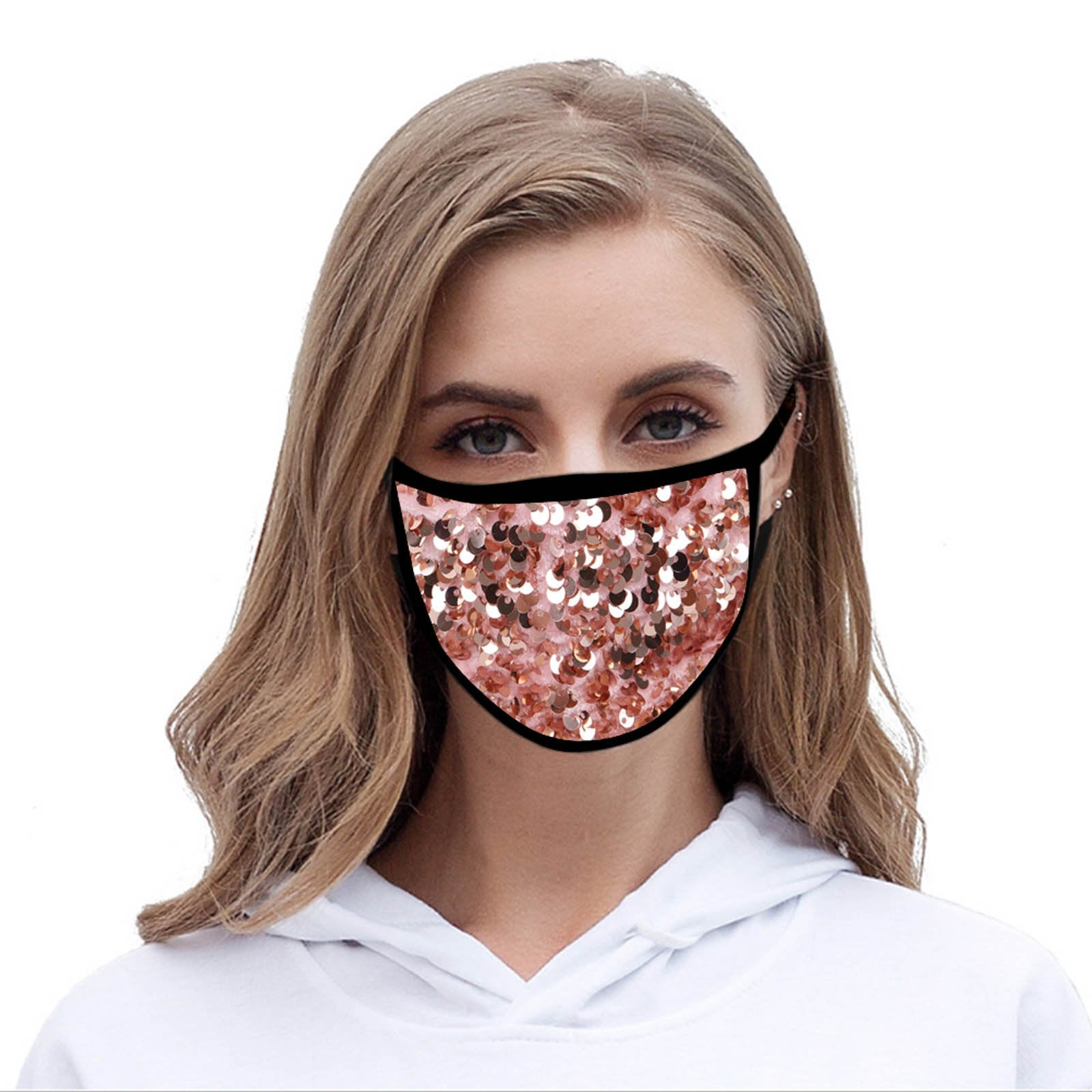 FCM-B108  American Bling Sequins Bling Pattern Print Fabric Mask Double Layer 1Pcs Set