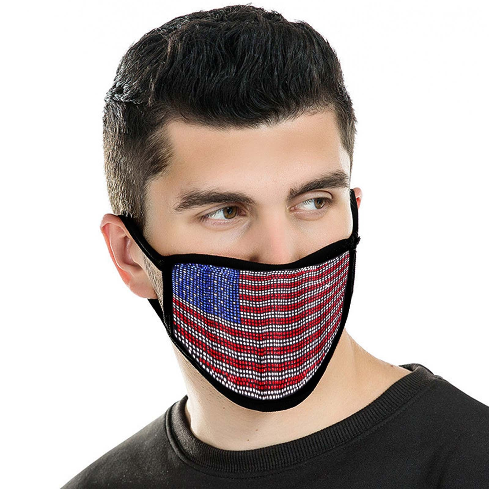 FCM-BUS01 Bling Rhinestone Mesh American Flag Design Double Layer Face Mask 1Pc Pack