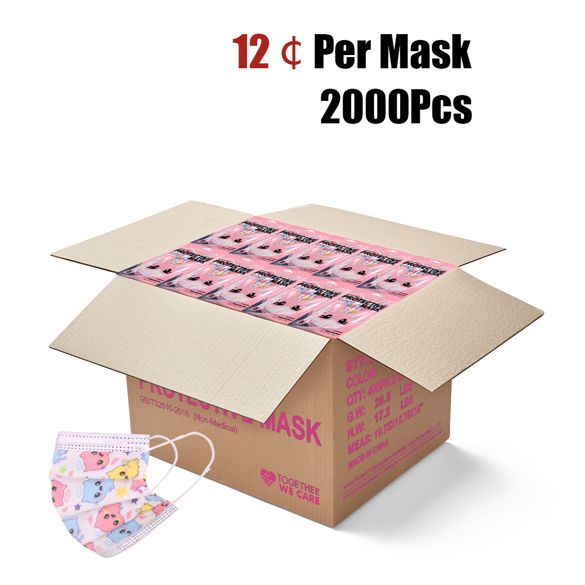 2000Pcs American Bling Kids 3 Ply Disposable Pink Angel Cat Face Mask (5pcs/Pack)