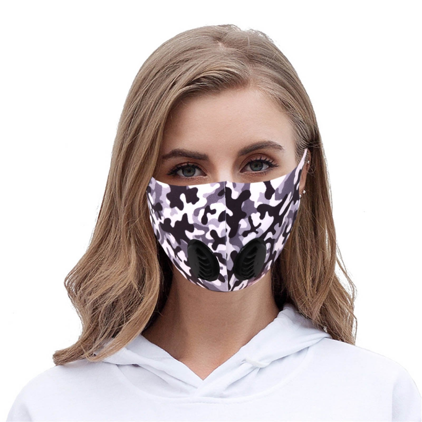 Black Camo Double Breathing Valve Single Ply Face Mask
