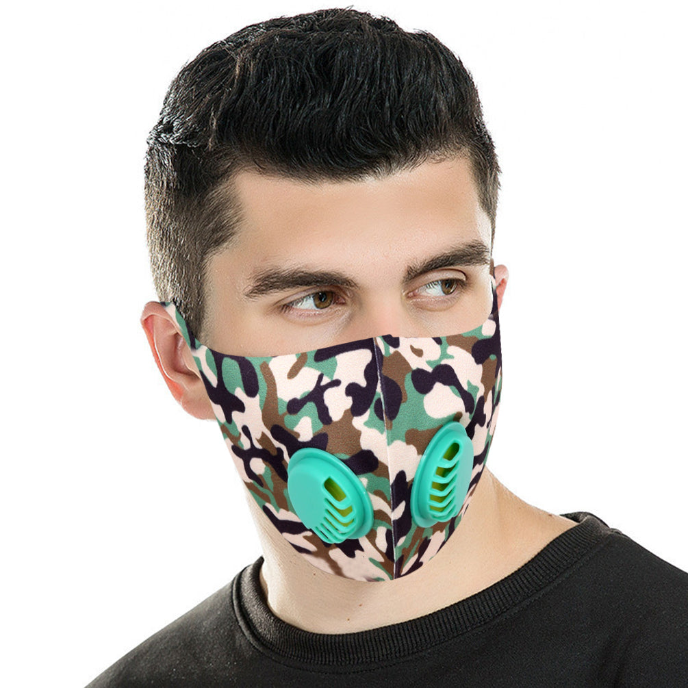 500Pcs Dust Mask with Double Filters, Fashion Washable Cloth Face Mask Reusable, Green camo print