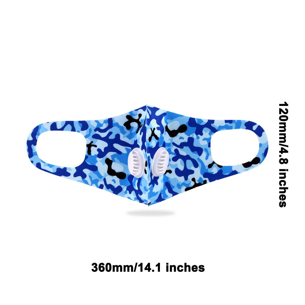 Dust Mask with Double Filters, 100% Cotton Comfy Breathable Outdoor Face Protections,Blue camo print