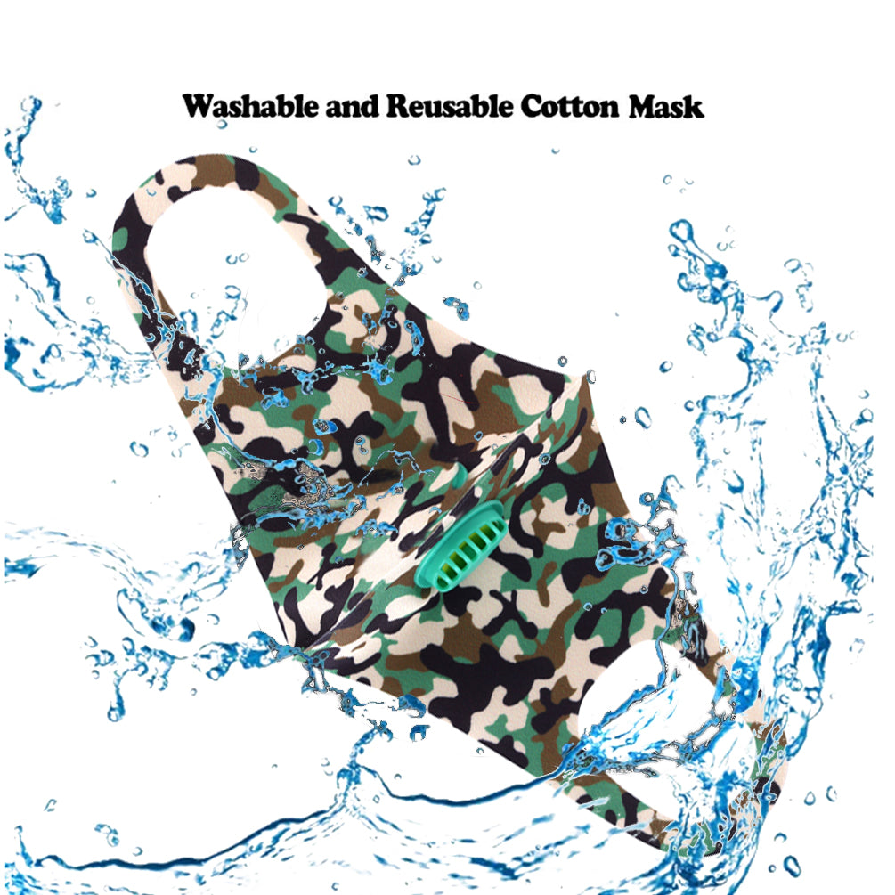 Dust Mask with Filter, Fashion Washable Cloth Face Mask Reusable, Green camo print