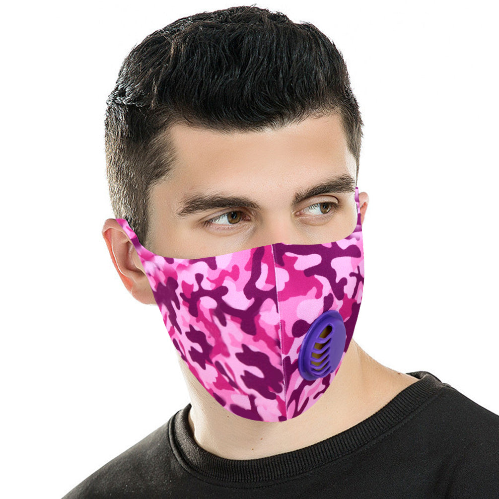 700Pcs Dust Mask with Double Filters, Fashion Washable Cloth Face Mask Reusable, Purple camo print