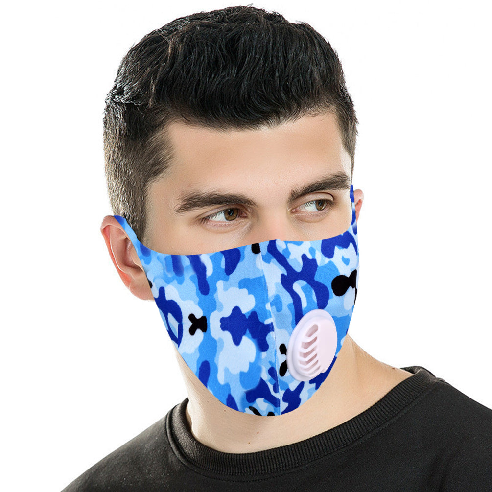 Dust Mask with Filter, Fashion Washable Cloth Face Mask Reusable, Blue camo print