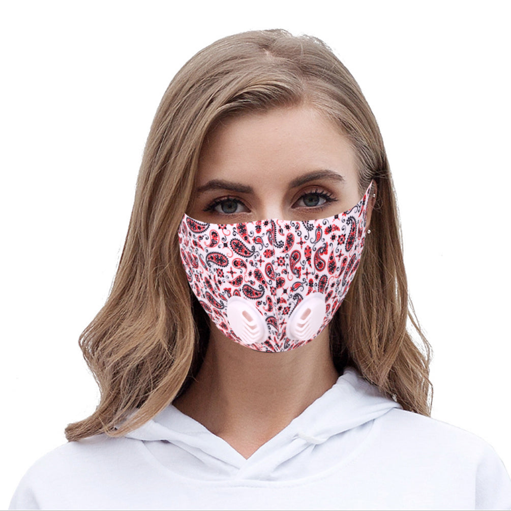 500Pcs White Paisley Print Double Breathing Valve Single Ply Face Mask