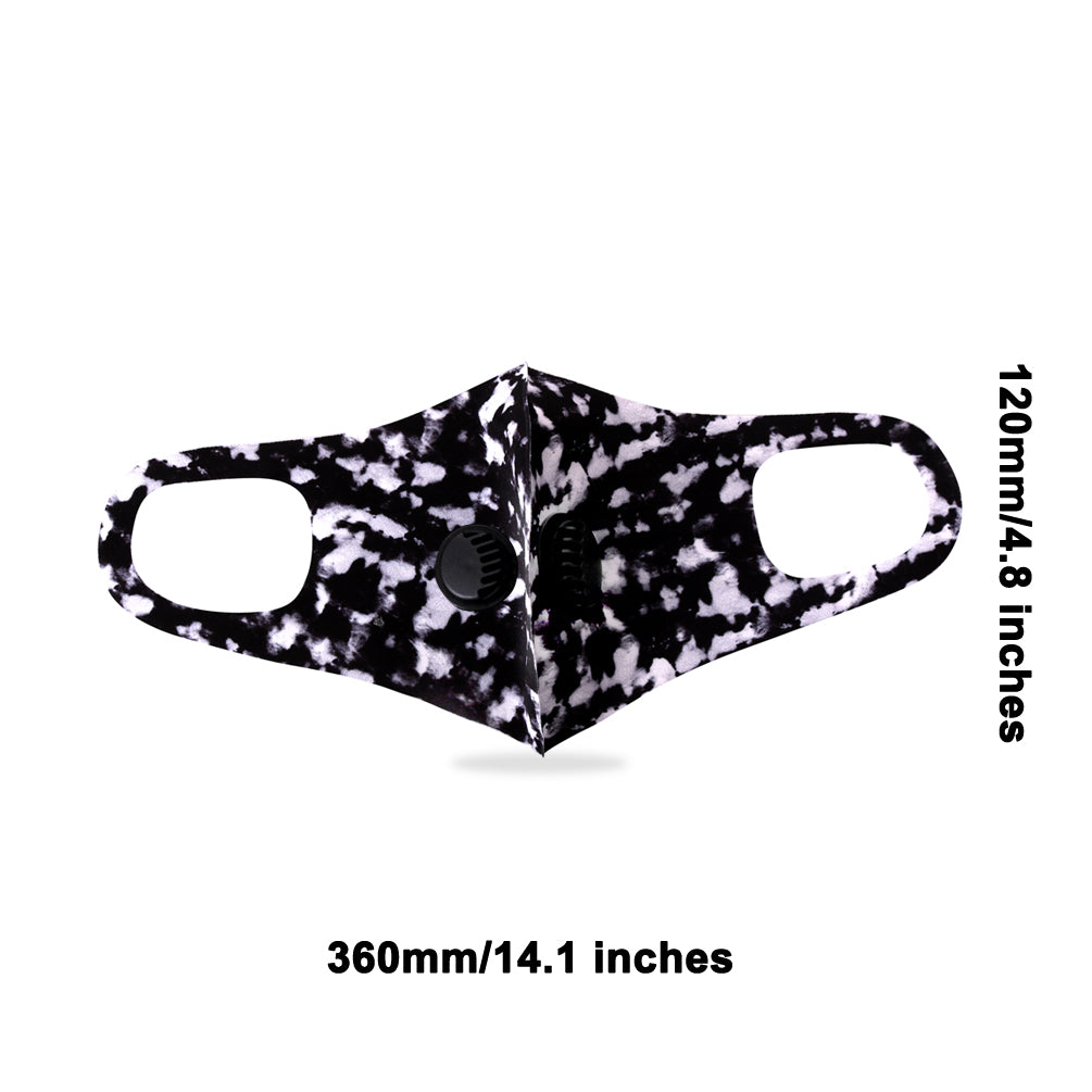 500Pcs Black Camo Print Double Breathing Valve Single Ply Face Mask