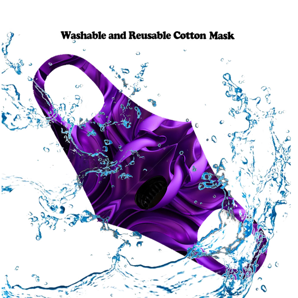 Dust Mask with Filter, Fashion Washable Cloth Face Mask Reusable, Purple flower print