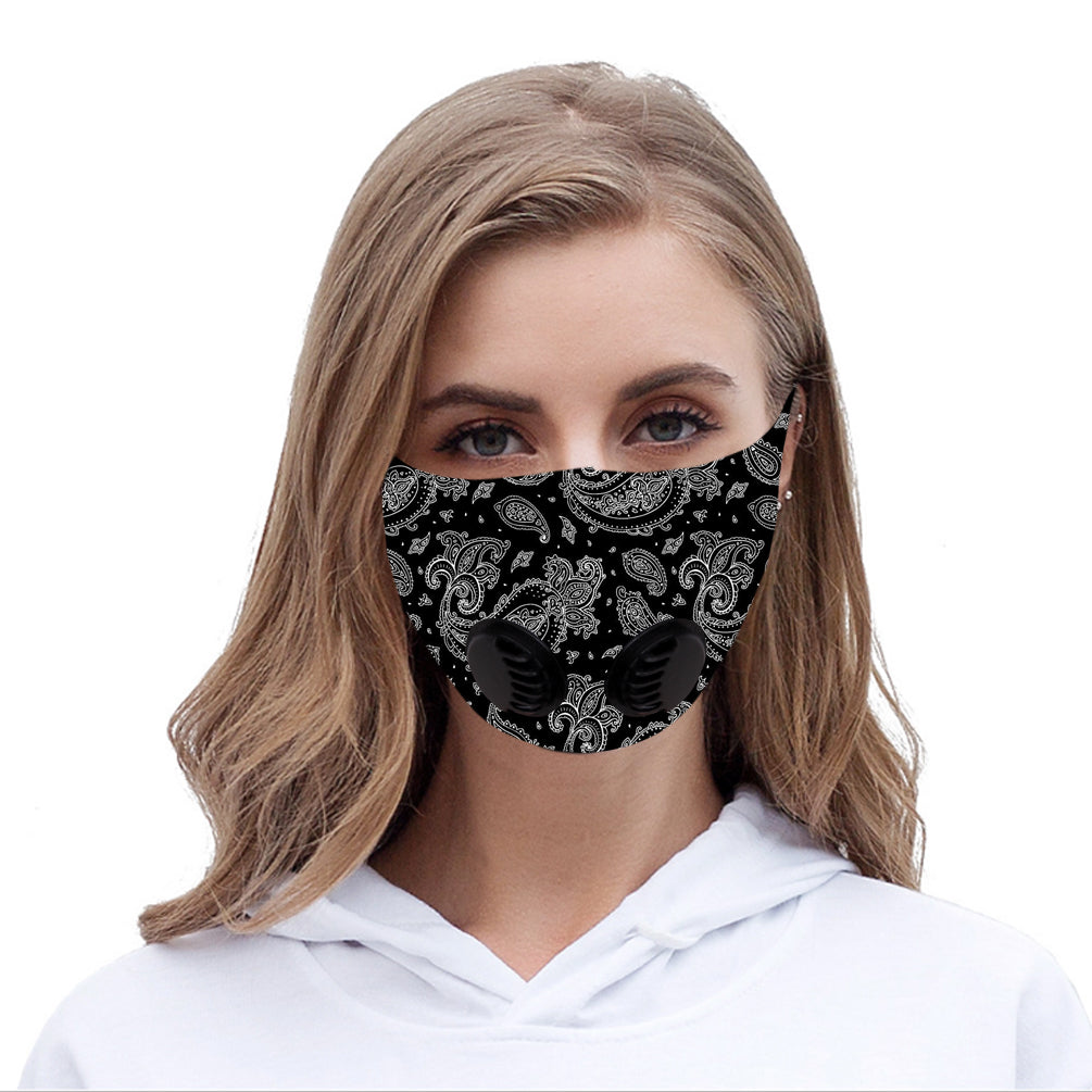 Dust Mask with Double Filters, Fashion Washable Cloth Face Mask Reusable, Black Floral Print