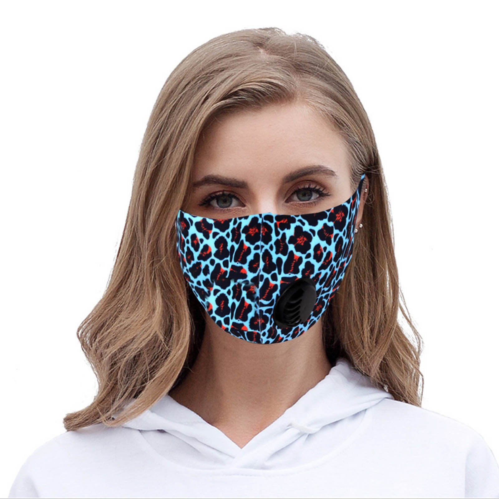 Turquoise Leopard Print Single Breathing Valve Single Ply Face Mask