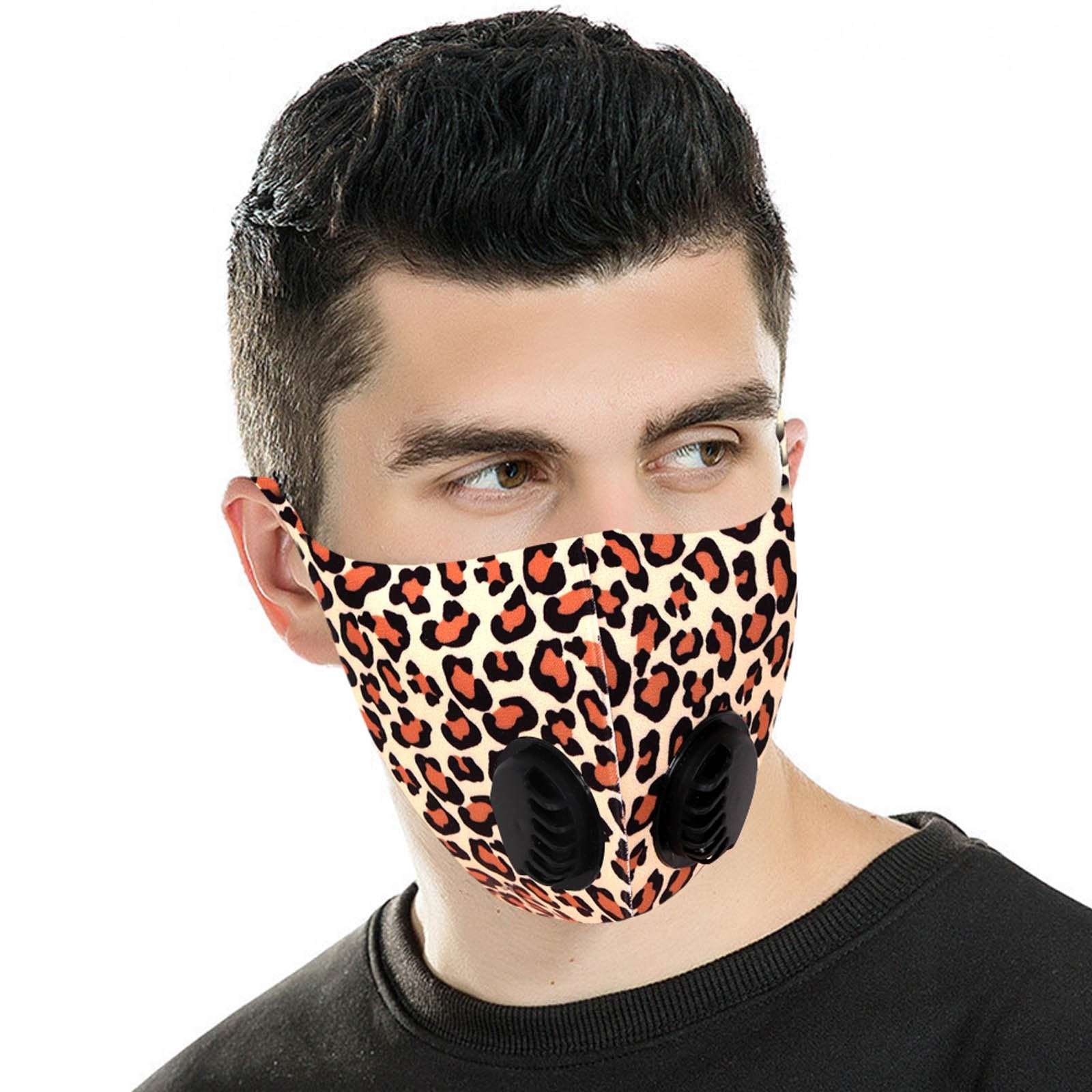 FM-7012DR  Leopard Print Double Breathing Valve Single Ply Face Mask